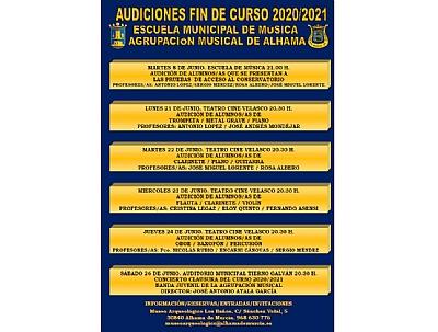 Imagen de AUDICIONES DE LA ESCUELA MUNICIPAL DE MÚSICA 2021